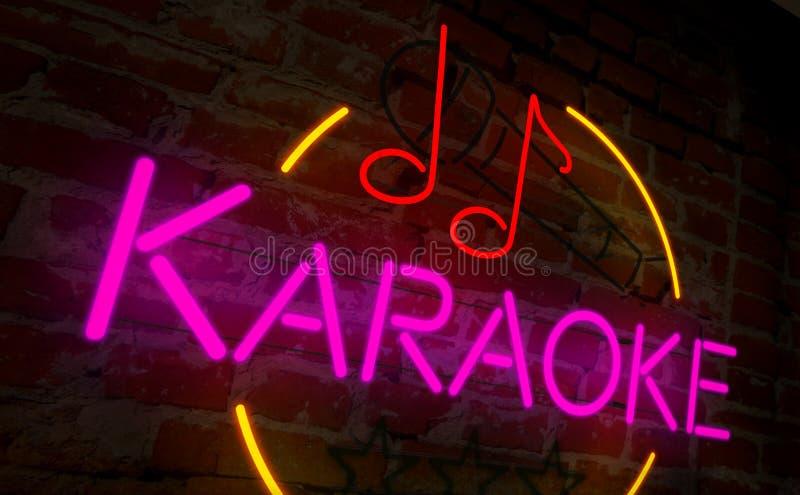 Retro karaokeneon vector illustratie