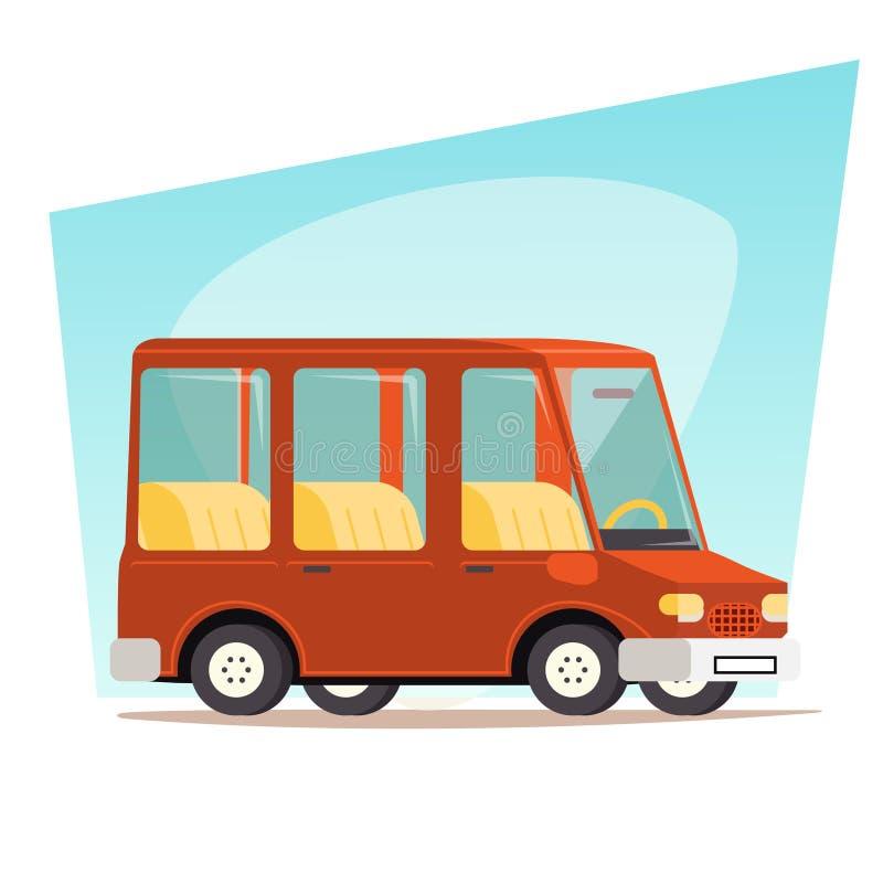 Retro- Karikatur-Auto-Familien-Reise Van Icon Modern lizenzfreie abbildung