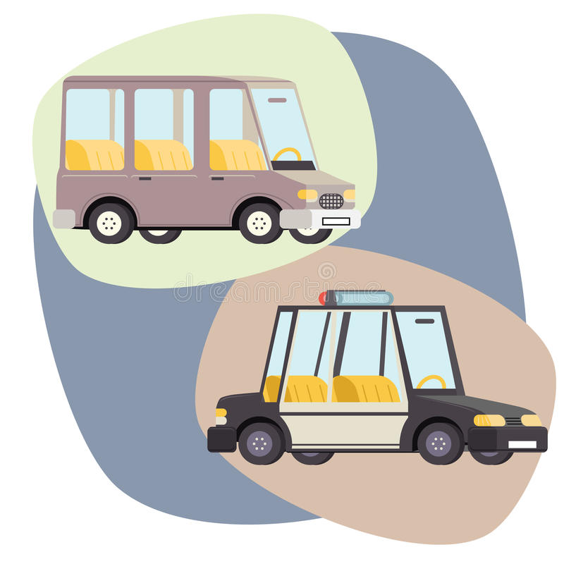Retro- Karikatur-Auto-Polizei-Familien-Reise-Vektor lizenzfreie abbildung
