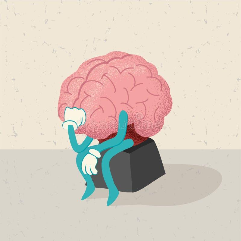 Retro- Karikatur eines menschlichen Gehirns lizenzfreie abbildung