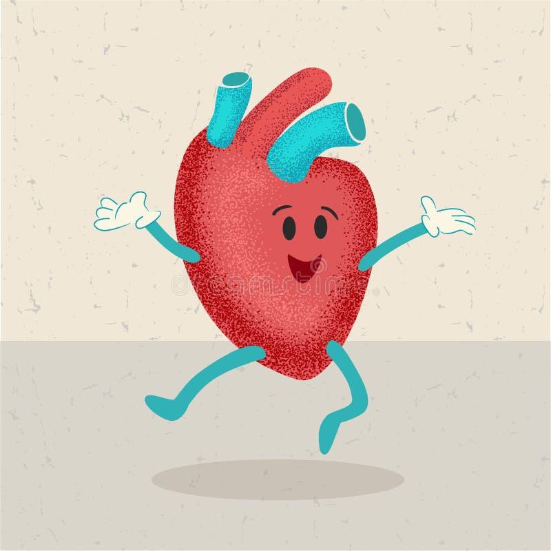 Retro- Karikatur eines menschlichen Herzens vektor abbildung