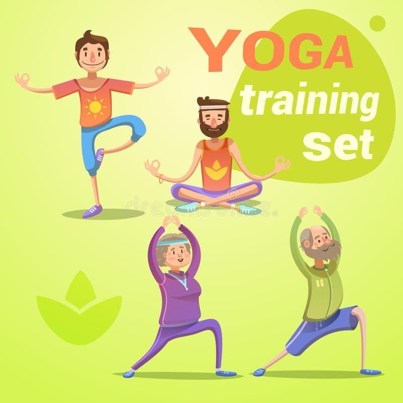Retro- Karikatursatz des Yoga lizenzfreie abbildung