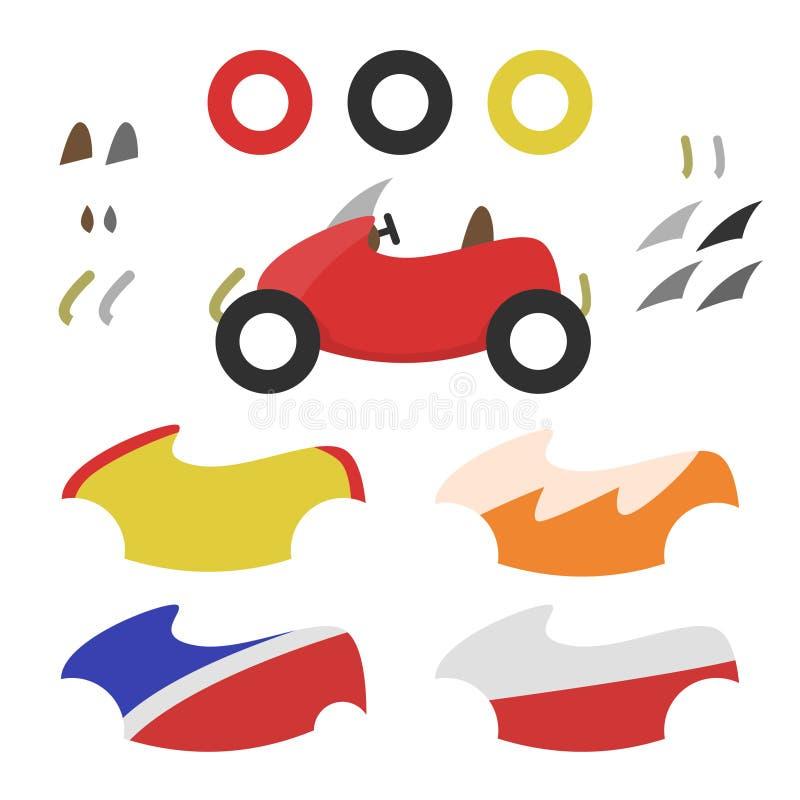 Retro Kart Customization royaltyfri illustrationer