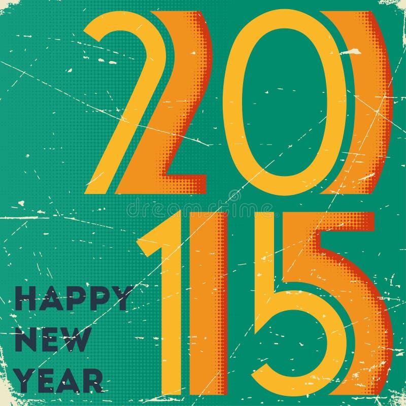 Retro karta z halftone drukował 2015 znaka dalej ilustracji