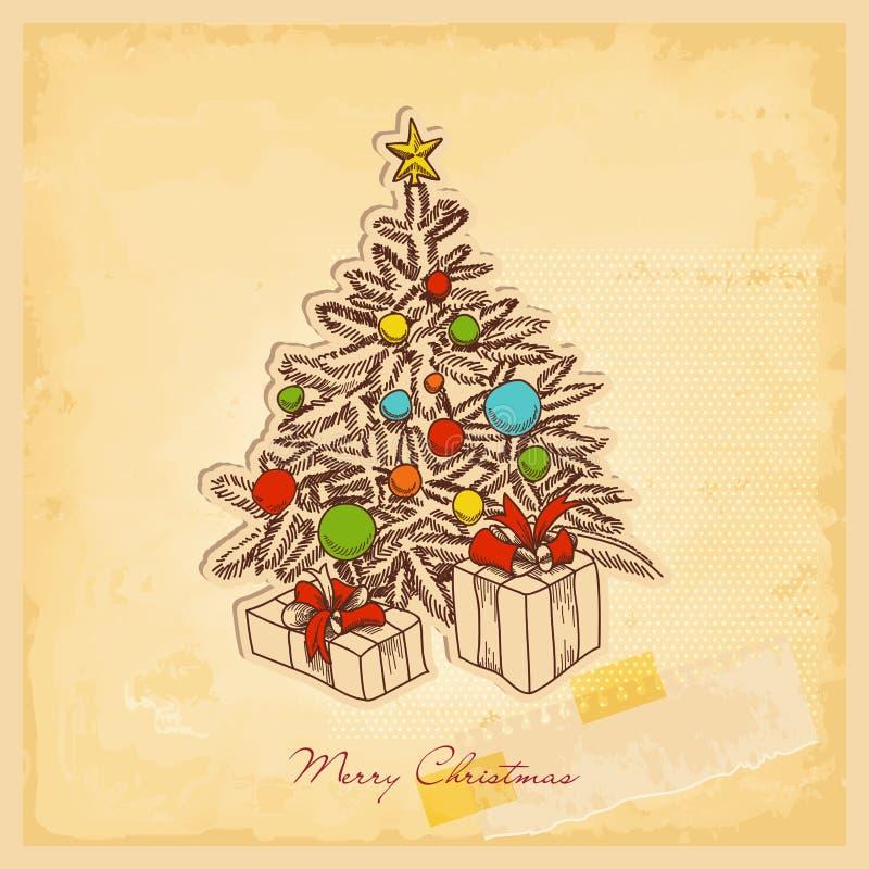 Retro kartka bożonarodzeniowa ilustracji