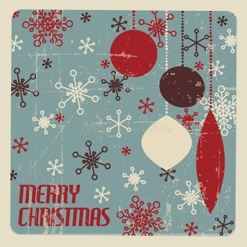 Retro kartka bożonarodzeniowa z boże narodzenie dekoracjami royalty ilustracja