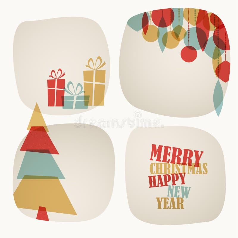 Retro kartka bożonarodzeniowa z choinką, prezentami i dekoracjami, ilustracja wektor