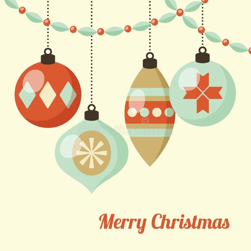 Retro kartka bożonarodzeniowa z wiszącymi Bożenarodzeniowymi piłkami, ornamenty Wektorowy ilustracyjny tło, płaski projekt royalty ilustracja