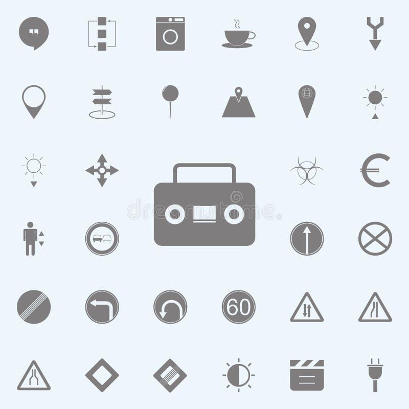 retro kasety gracza audio ikona sieci ikon ogólnoludzki ustawiający dla sieci i wiszącej ozdoby ilustracja wektor