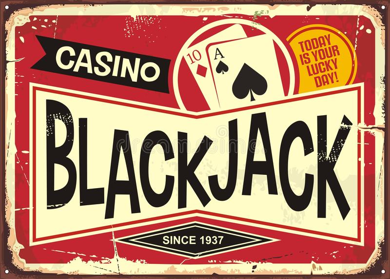 Retro kasinotecken för blackjack vektor illustrationer
