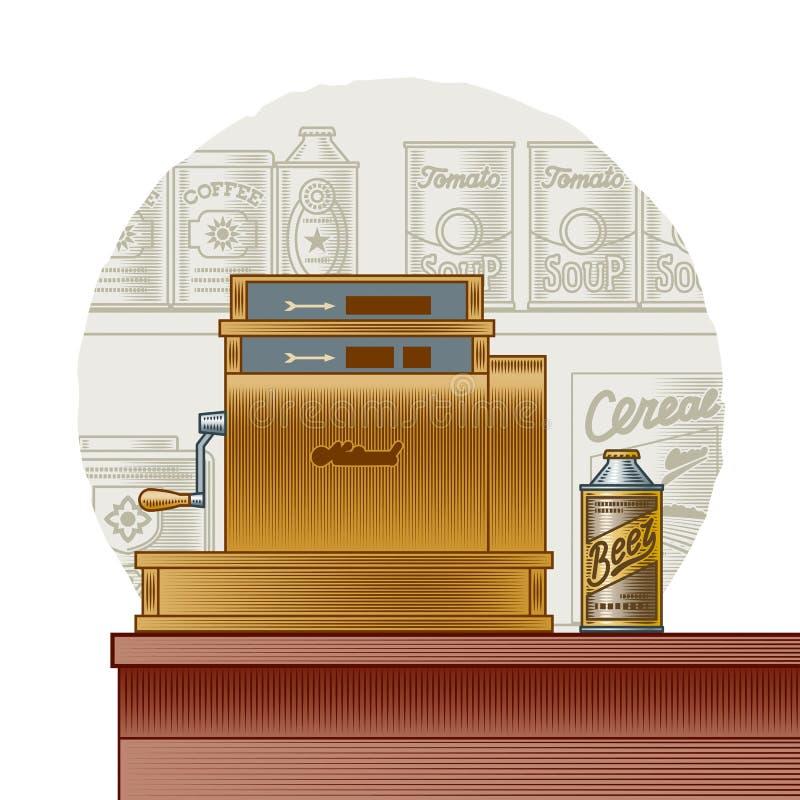Retro kasregister stock illustratie