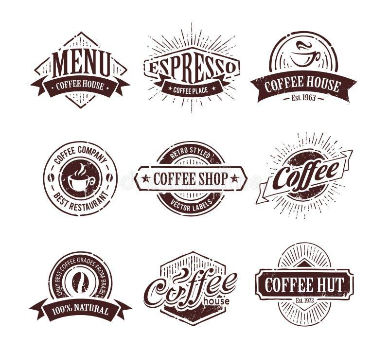 Retro kawa znaczki royalty ilustracja