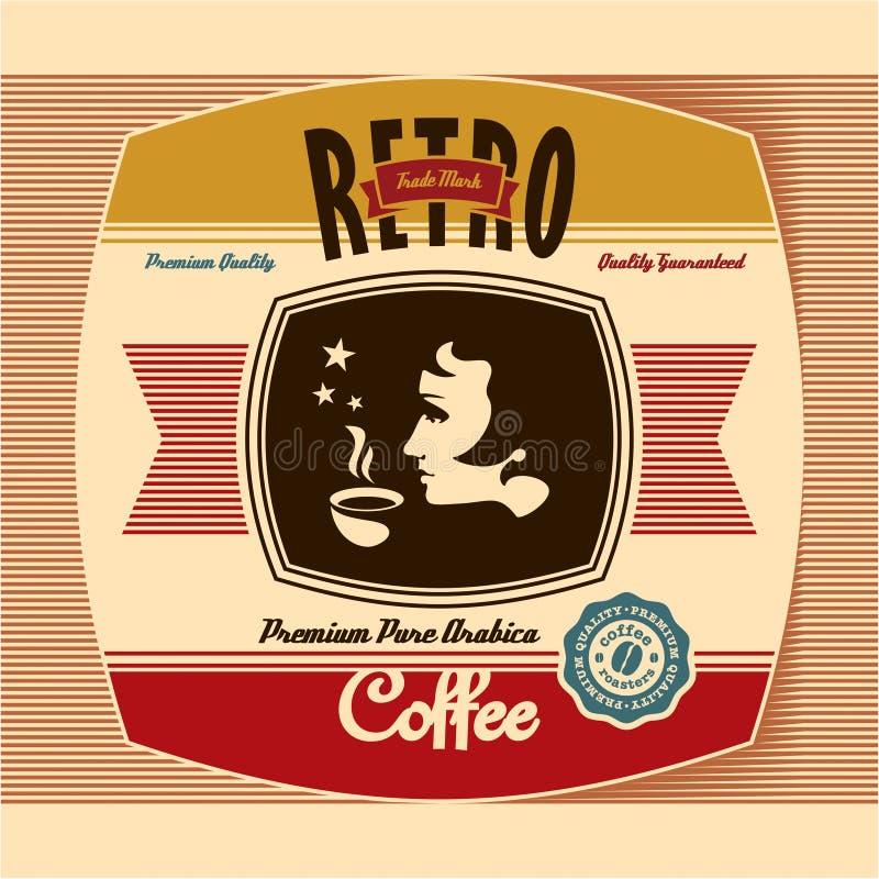 Retro Kawowa Etykietka ilustracji