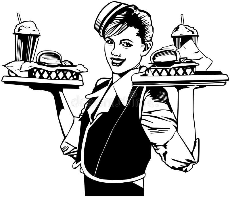 retro kelnerka ilustracji
