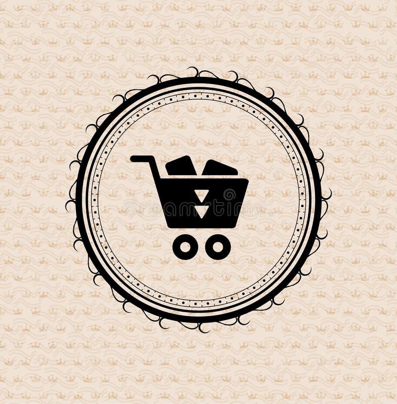 Retro Kennsatz der Weinlese: Einkaufswagenikone stock abbildung