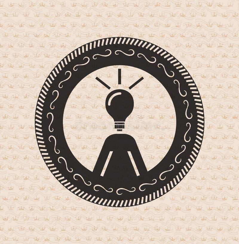 Retro Kennsatz der Weinlese: menschliche Ideen, Betriebsmittelikone vektor abbildung