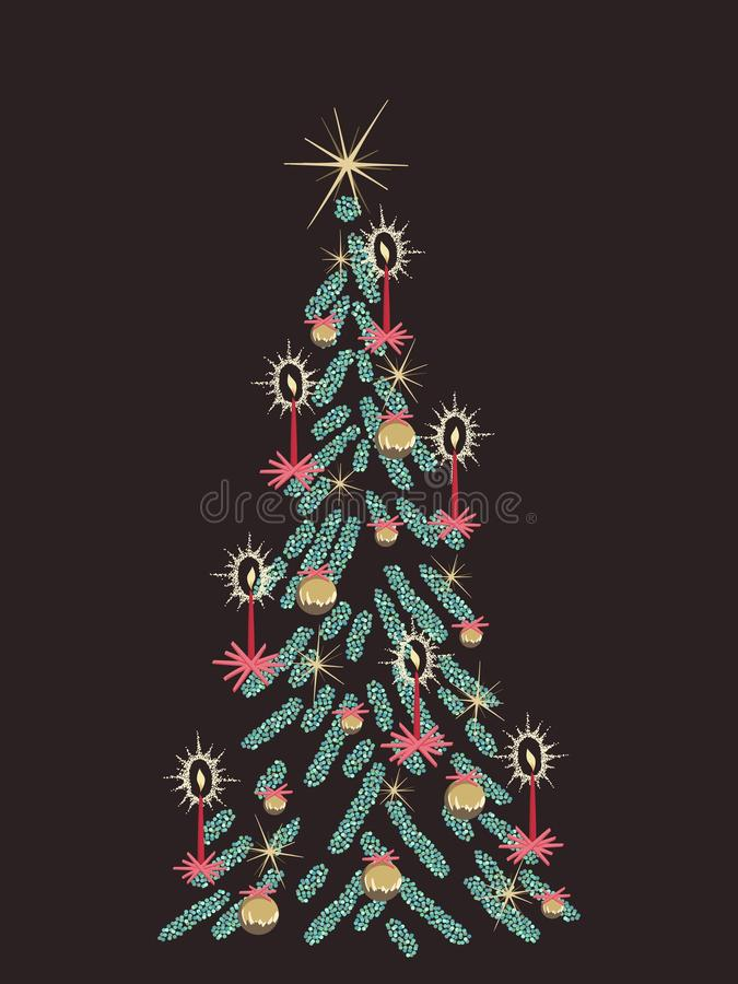 Retro Kerstboomkaart vector illustratie