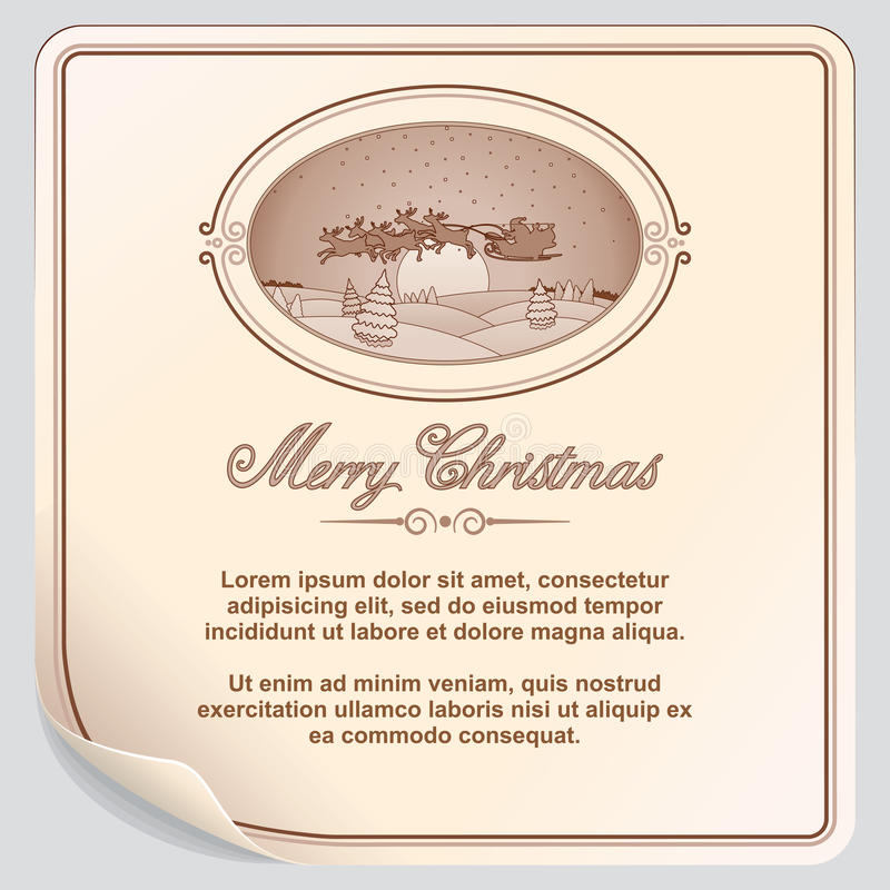 Retro Kerstkaart met Santa Sleigh stock illustratie