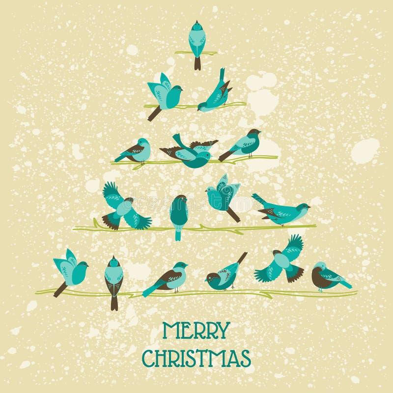 Retro Kerstkaart - Vogels op Kerstboom royalty-vrije illustratie