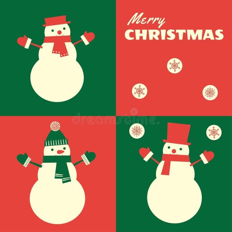 Retro Kerstmiskaart drie sneeuwmannen stock illustratie
