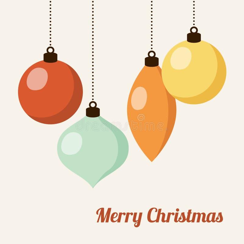 Retro Kerstmiskaart met Kerstmisballen, stock illustratie