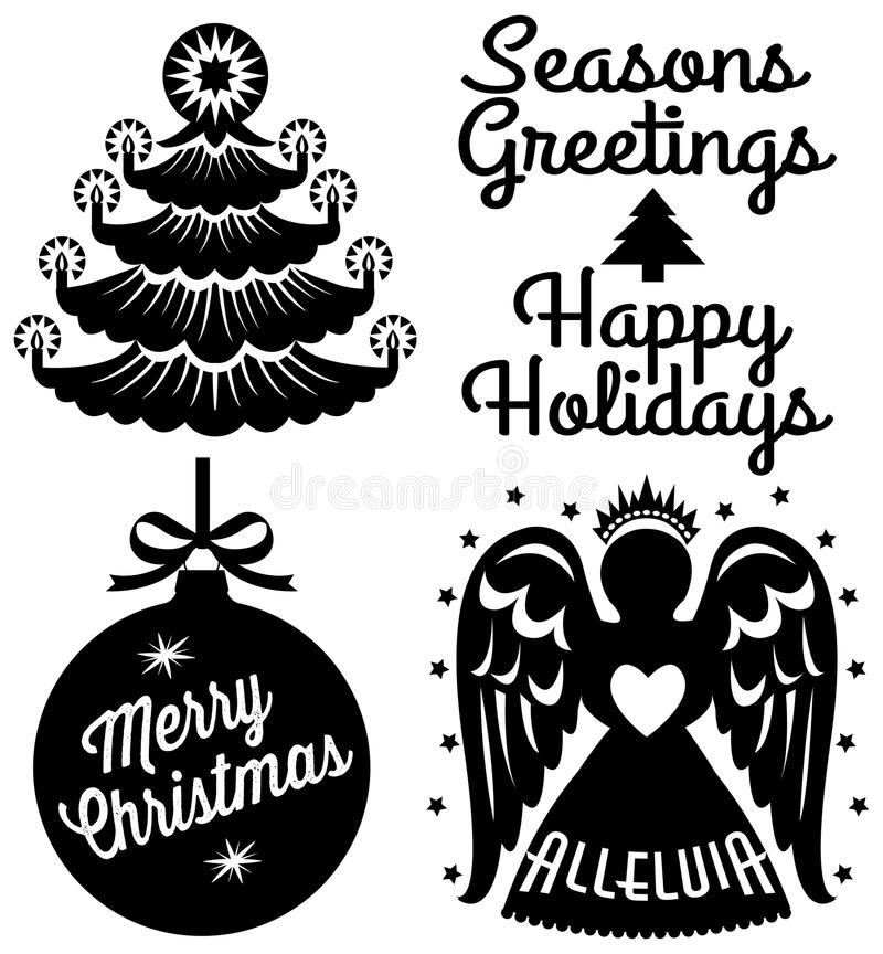 Retro Kerstmisklem Art Set vector illustratie