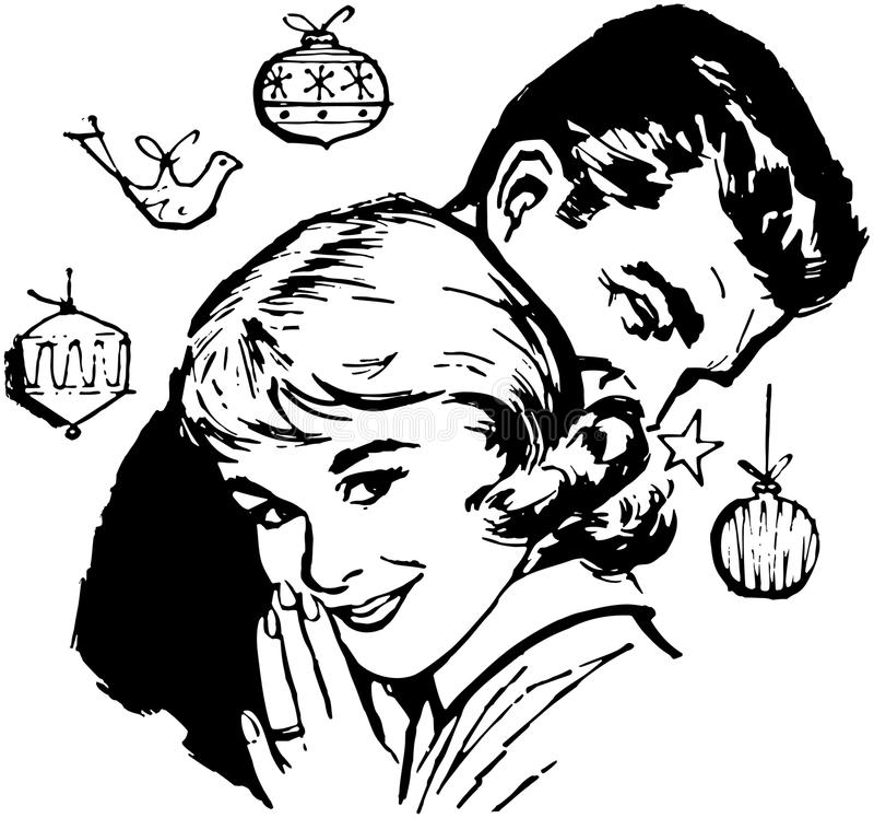 Retro Kerstmispaar stock illustratie
