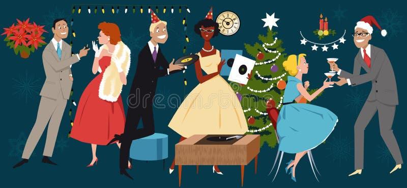 Retro Kerstmispartij stock illustratie