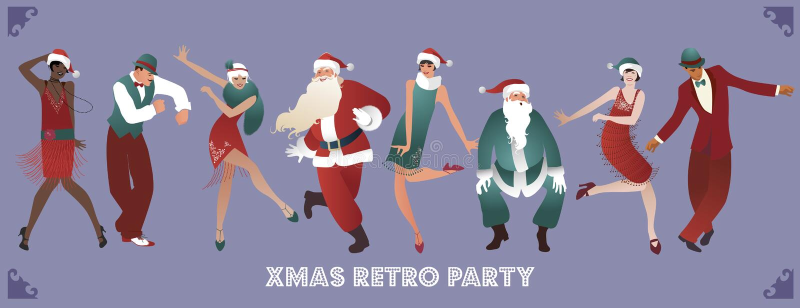 Retro Kerstmispartij Groep van vier mensen en vier meisjes dansend Charleston royalty-vrije illustratie