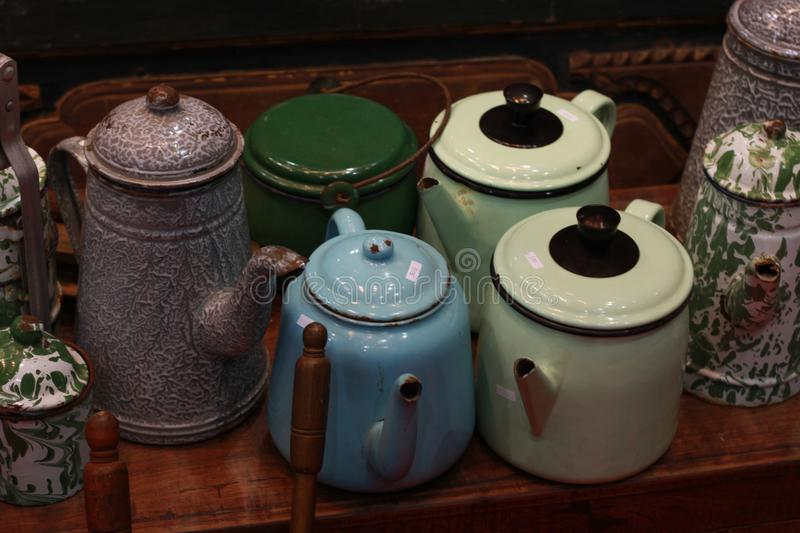 retro kettle jug vintage teapot made from metal traditional antique kitchen royalty free stock photography