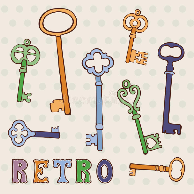 Retro keys collection vector illustration