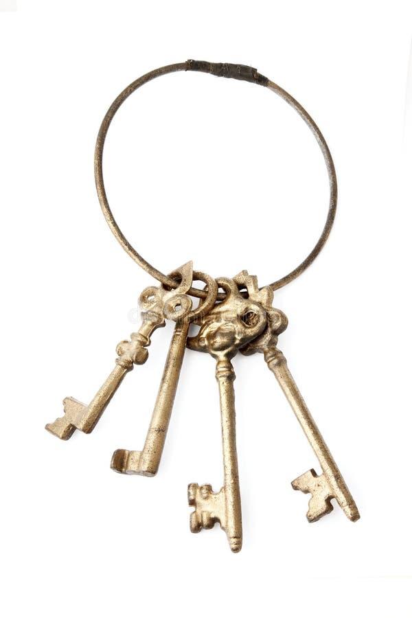 Retro keys isolated on white royalty free stock photography