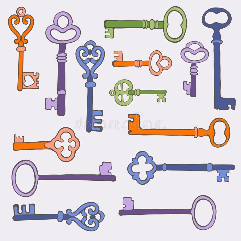 Retro keys stylish background. vector illustration. Colorful retro keys stylish background. vector illustration royalty free illustration