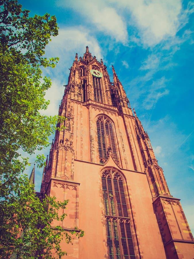 Retro kijk de Kathedraal van Frankfurt royalty-vrije stock foto