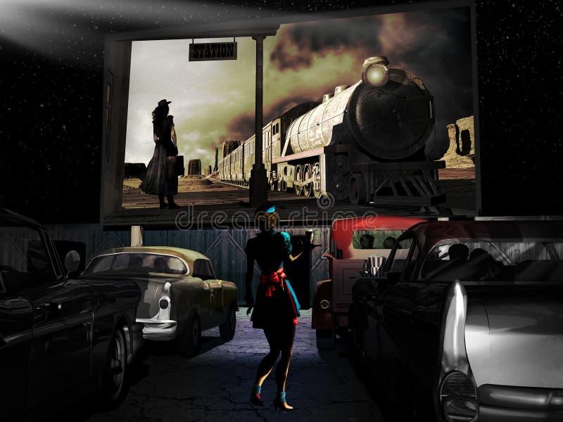 Retro- Kino der geöffneten Luft stock abbildung