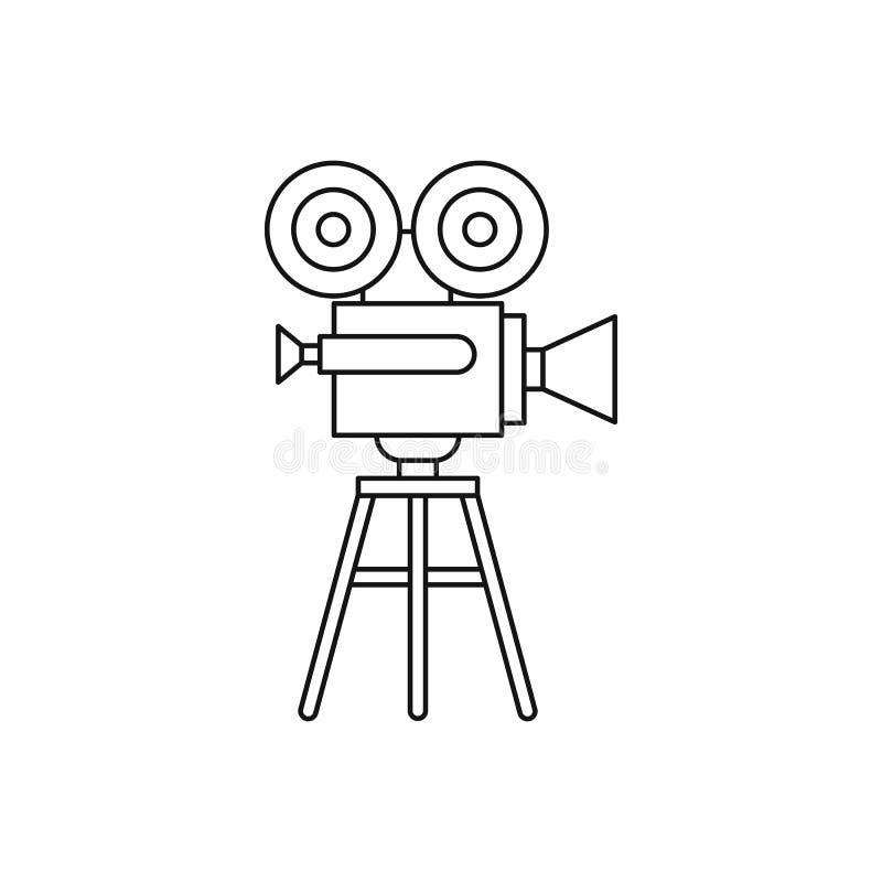 Retro kinowa kamery ikona, konturu styl royalty ilustracja