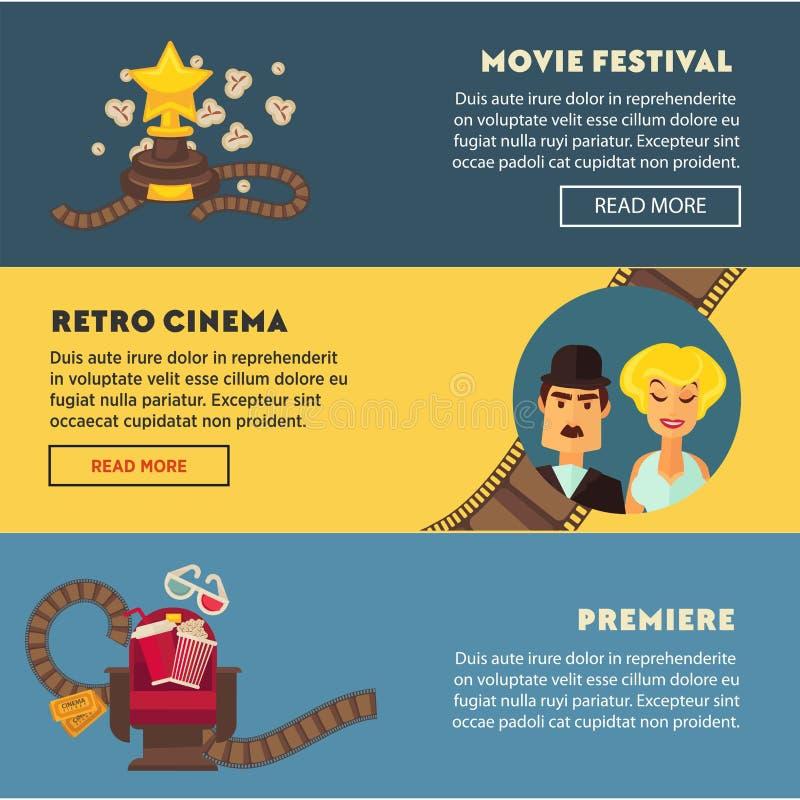 Retro kinowego filmu premiera festiwalu sieci wektorowi płascy sztandary projektują szablon ilustracja wektor