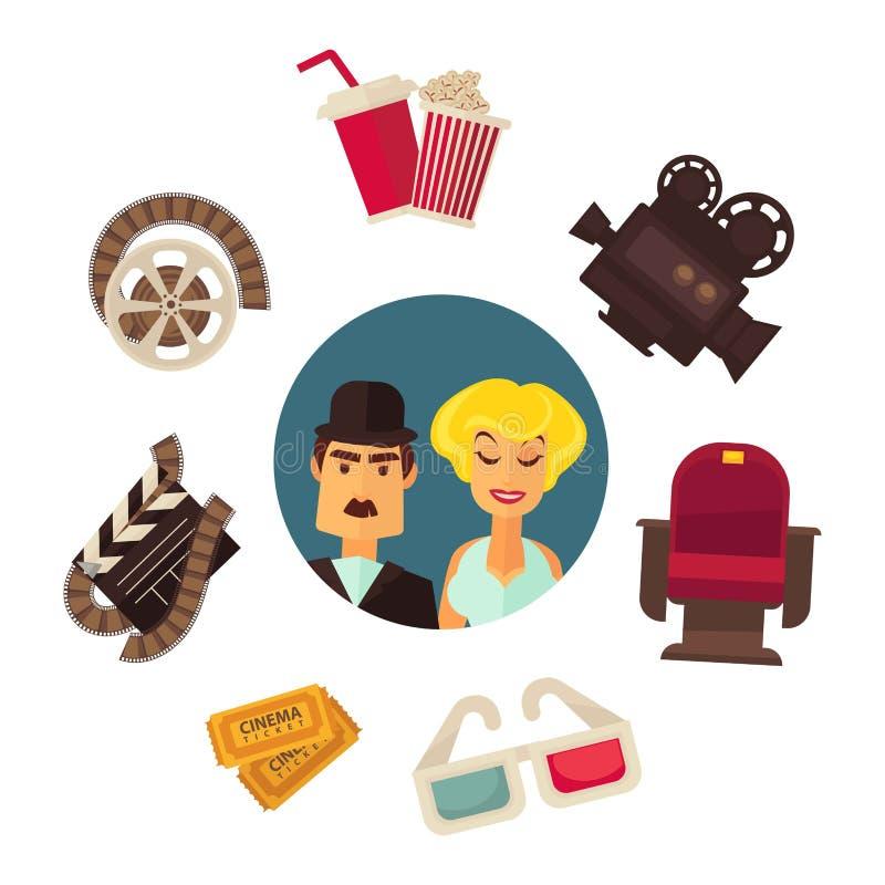 Retro kinowi filmu plakata kinematografii wektorowi płascy aktorzy i wyposażenie projektują szablon ilustracji