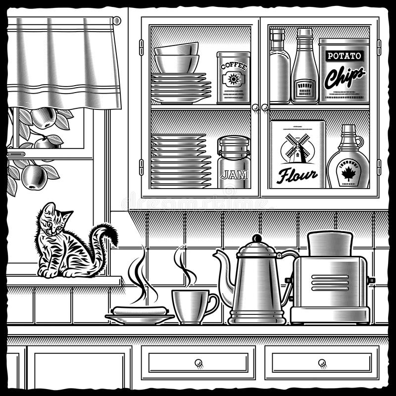 Retro kitchen black and white stock illustration