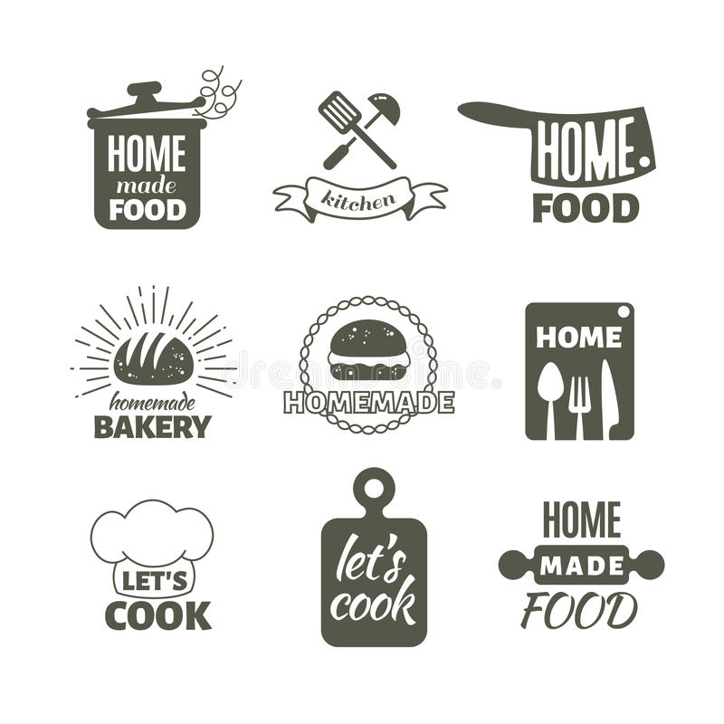 Retro Kitchen Cooking At Home And Handmade Vector Badges