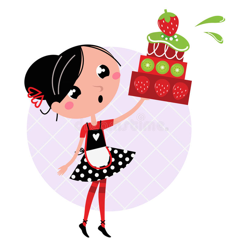Retro kitchen Girl with big fruity Cake vector illustration