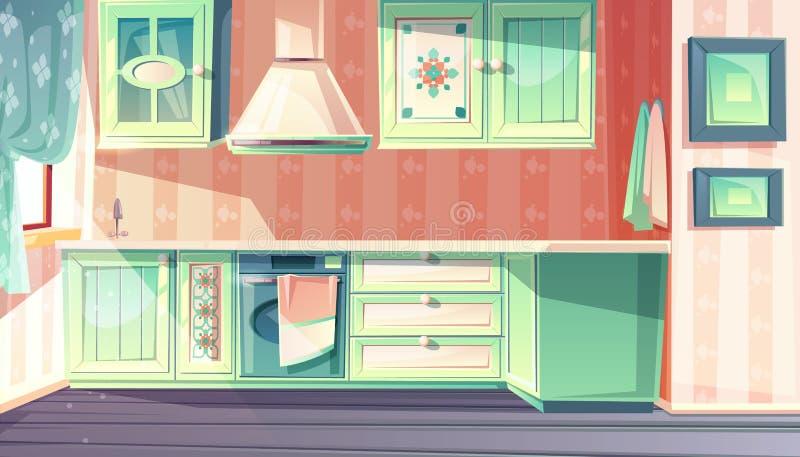 Retro kitchen interior vector provence background stock illustration