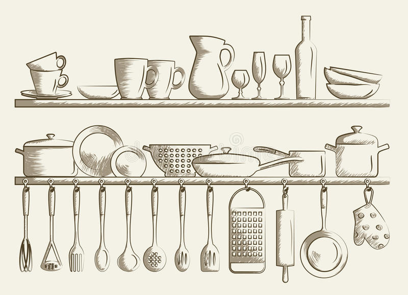 retro kitchen shelves and cooking utensils stock vector. Black Bedroom Furniture Sets. Home Design Ideas