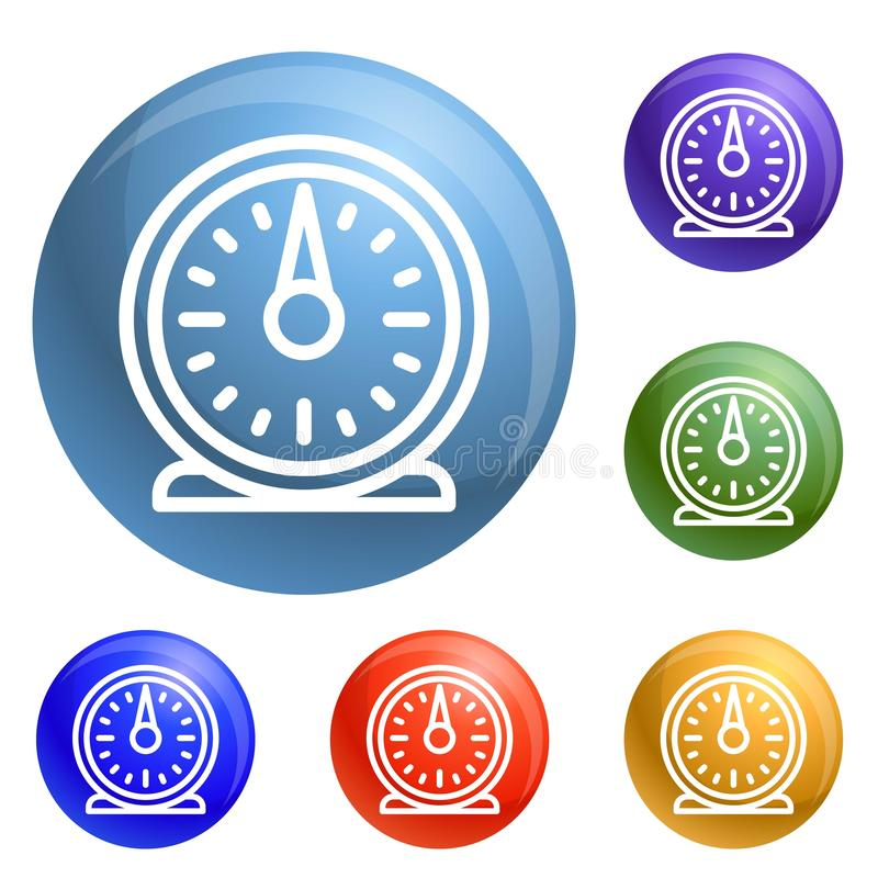 Retro kitchen timer icons set vector stock illustration