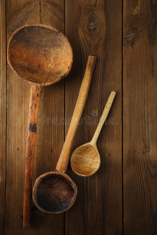 Free Retro Kitchen Utensils Wood Spoon On Old Wooden Table In Rustic Stock Photo - 33570550