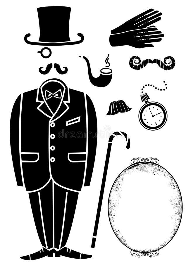 Retro- Klage des Herrn und Accessories.Vector-Symbol vektor abbildung