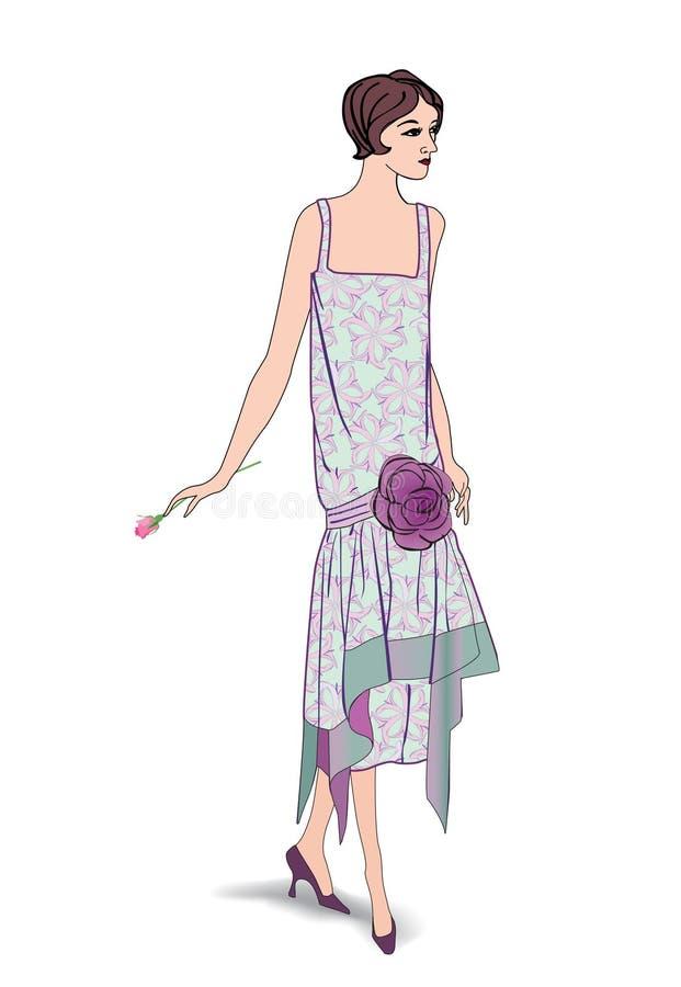 Retro klamerki sztuki dziewczyna w 1930s FashionStyle ilustracji