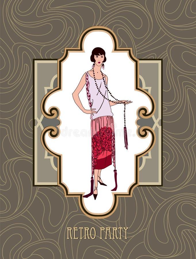 Retro klamerki sztuki dziewczyna w 1930s mody stylu ilustracji