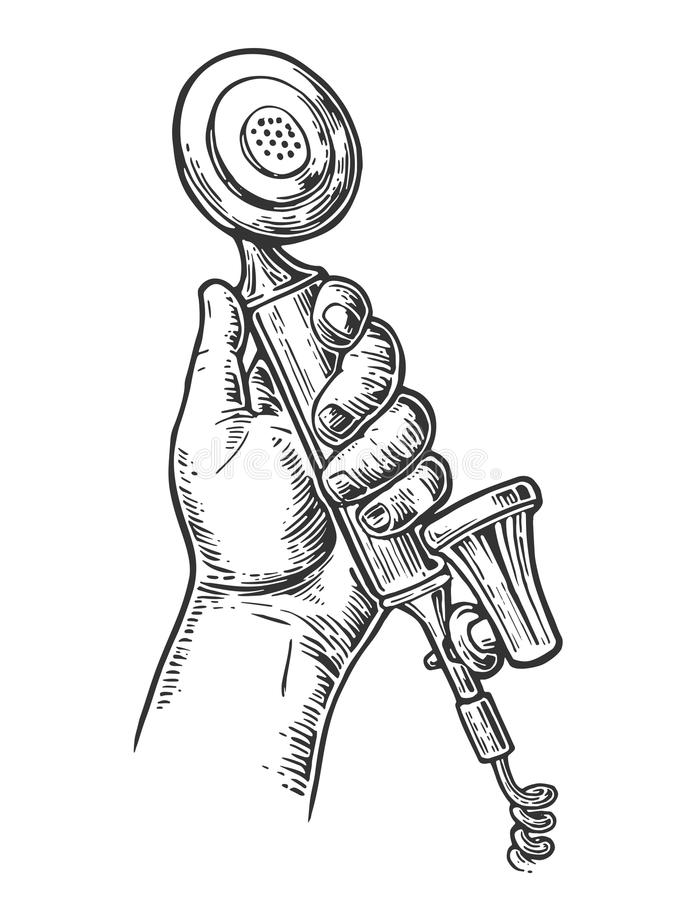 Retro klassieke telefoon in mannelijke hand Geïsoleerdj op witte achtergrond Wijnoogst getrokken graverende illustratie stock illustratie