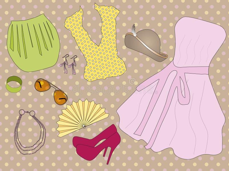 Retro kleren voor vrouw vector illustratie